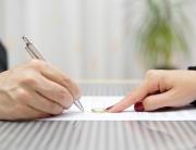 Husband Signing Divorce Agreement And Woman Push Away Weeding Ri